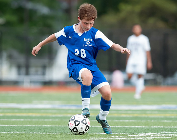 09/17/18 Wesley Bunnell | Staff Bristol Eastern soccer defeated New Britain 2-0 on Monday afternoon at Bristol Eastern High School. Bristol Eastern's Joe Verardi (28).