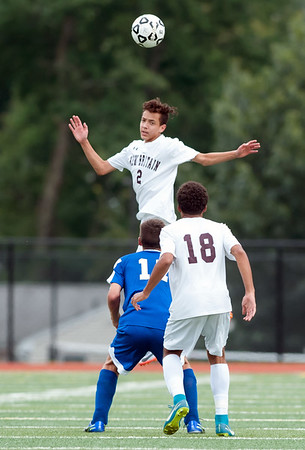 09/17/18 Wesley Bunnell | Staff Bristol Eastern soccer defeated New Britain 2-0 on Monday afternoon at Bristol Eastern High School. New Britain's Kevin Gottner (2).
