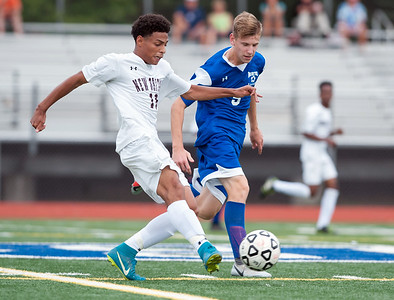 09/17/18  Wesley Bunnell | Staff  Bristol Eastern soccer defeated New Britain 2-0 on Monday afternoon at Bristol Eastern High School. New Britain's Minel Mehmedovic (11) and Bristol Eastern's Adam Borry (5).