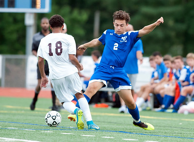 09/17/18  Wesley Bunnell | Staff  Bristol Eastern soccer defeated New Britain 2-0 on Monday afternoon at Bristol Eastern High School. New Britain's Alejandro Lazaro (18) and Bristol Eastern's Dylan Piazza (2).