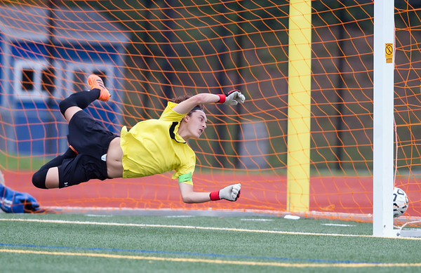 09/17/18 Wesley Bunnell | Staff Bristol Eastern soccer defeated New Britain 2-0 on Monday afternoon at Bristol Eastern High School. New Britain goal keeper Adam Gottner.