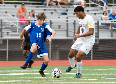 09/17/18  Wesley Bunnell | Staff  Bristol Eastern soccer defeated New Britain 2-0 on Monday afternoon at Bristol Eastern High School. Bristol Eastern's Brandon Greger (19) and New Britain's Gabriel Navarro (10).