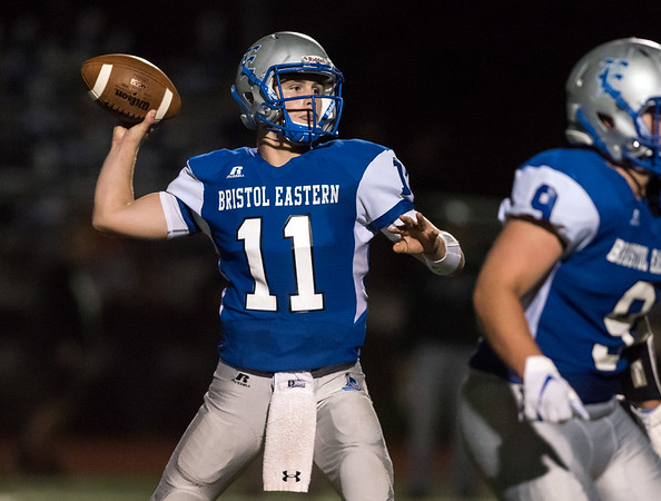 09/21/18 Wesley Bunnell | Staff Bristol Eastern was defeated at home on Friday night by Maloney 60-20. Bristol Eastern QB Justin Marshall (11).