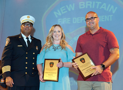 09/20/18  Wesley Bunnell | Staff  The New Britain Fire Department held their 2018 Awards Ceremony on Thursday September 20 at Trinity on Main. Fire Chief Raul Otiz presents Community Recognition Awards to Brittany Morin and Carlos Saavedra for expleary lifesaving performance under emergency conditions which attributed to successfully saving a life.