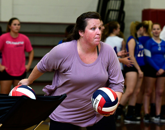 9/12/2018 Mike Orazzi | Staff Bristol Central Girls Volleyball Coach Holly Willette Wednesday night at BC.