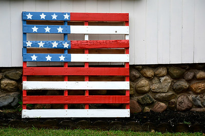 9/12/2018 Mike Orazzi | Staff A pallet flag on Putnam Street in Bristol Wednesday.
