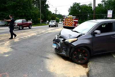 9/13/2018 Mike Orazzi | Staff The scene of a two vehicle crash on Farmington Avenue near Mercier Avenue. One was transported by ambulance from the  scene.
