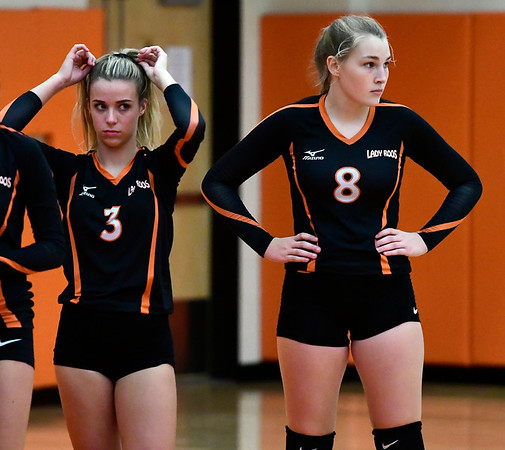 9/13/2018 Mike Orazzi | Staff Terryville's Abigail DellaVecchia (3) and Tiffany Pires (8) during Thursday's match at Terryville High School.