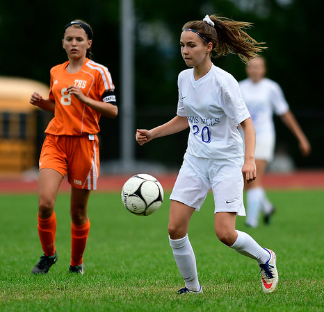 9/13/2018 Mike Orazzi | Staff Lewis Mills' Julia Malejczyk (20) during Thursday's soccer at THS