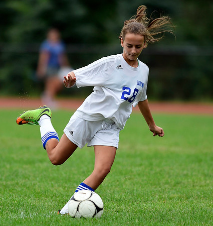 9/13/2018 Mike Orazzi | Staff Lewis Mills' Marissa Fortuna (28) during Thursday's soccer at THS.