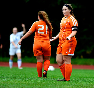 9/13/2018 Mike Orazzi | Staff Terryville's Jordan Pilbin (19) during Thursday's soccer with Lewis Mills.