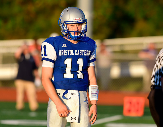 9/14/2018 Mike Orazzi | Staff Bristol Eastern High School's Justin Marshall (11) during Friday night's football game with Middletown in Bristol.