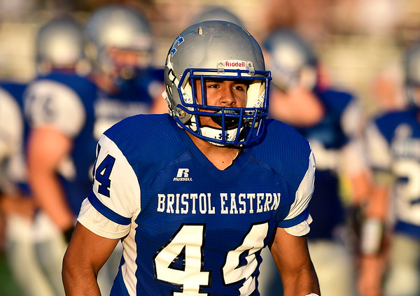 9/14/2018 Mike Orazzi | Staff Bristol Eastern High School's Edgar Santiago (44) during Friday night's football game with Middletown in Bristol.