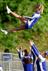 9/14/2018 Mike Orazzi | Staff Bristol Eastern High School Cheerleaders during Friday night's football game with Middletown in Bristol.