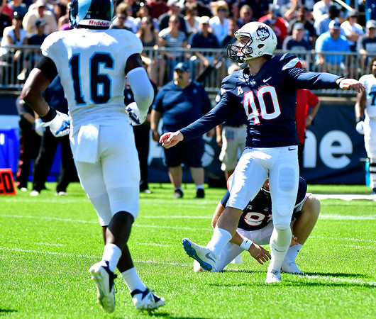 9/15/2018 Mike Orazzi   Staff UConn's Michael Tarbutt (40) during Saturday's win over the University of Rhode Island in East Hartford.