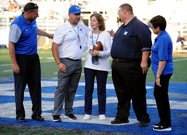 9/15/2018 Mike Orazzi   Staff Former CCSU President Jack Miller's family honored a half time during Saturdays' football game with Columbia in New Britain.