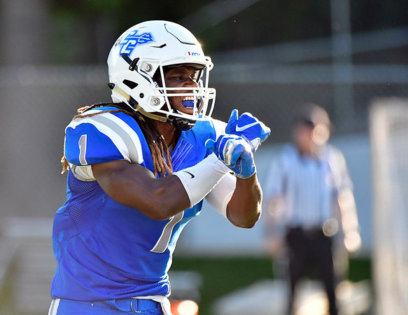 9/15/2018 Mike Orazzi   Staff CCSU's DJ Exilhomme (1) during Saturdays' football game in New Britain.