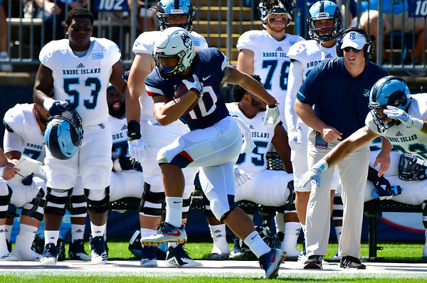 9/15/2018 Mike Orazzi   Staff UConn's Zavier Scott (10) during Saturday's win over the University of Rhode Island in East Hartford.