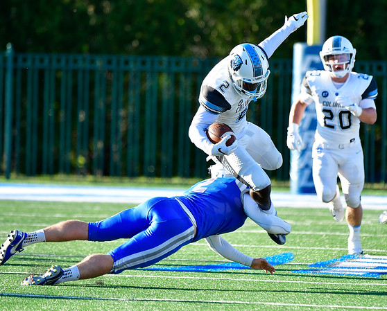 9/15/2018 Mike Orazzi   Staff Columbia's Will Allen (2) and CCSU's Francis Cole (2) during Saturdays' football game in New Britain.