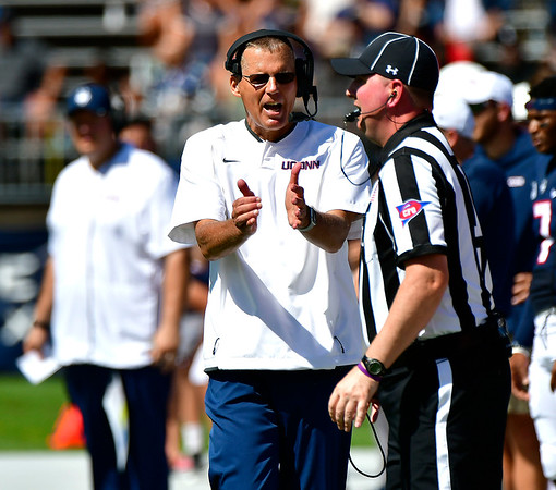 9/15/2018 Mike Orazzi   Staff UConn's Randy Edsall during Saturday's win over the University of Rhode Island in East Hartford.