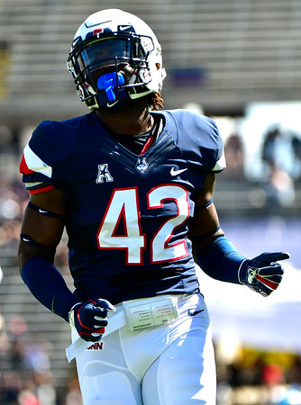 9/15/2018 Mike Orazzi   Staff UConn's T.J. Gardner (42) during Saturday's win over the University of Rhode Island in East Hartford.