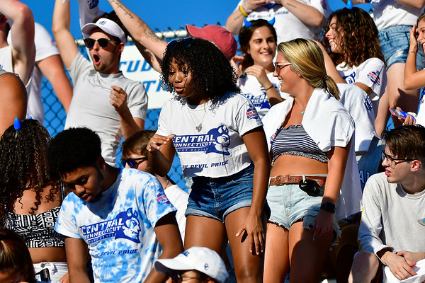 9/15/2018 Mike Orazzi   Staff CCSU fans during Saturday afternoon's football game with Columbia in New Britain.