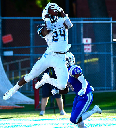 9/15/2018 Mike Orazzi   Staff Columbia's Ronald Smith (24) and CCSU's Dexter Lawson (10) during Saturdays' football game in New Britain.
