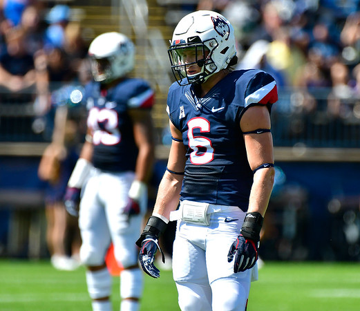9/15/2018 Mike Orazzi   Staff UConn's Eddie Hahn (6) during Saturday's win over the University of Rhode Island in East Hartford.