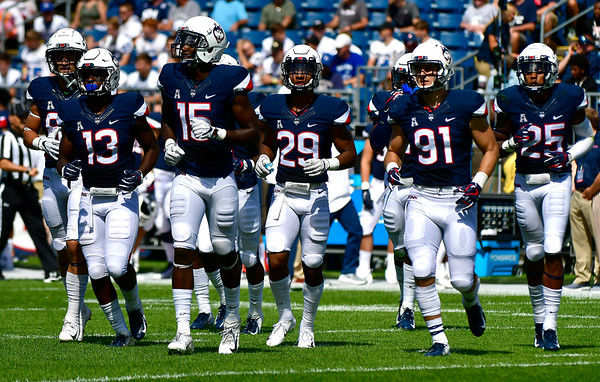 9/15/2018 Mike Orazzi   Staff UConn during Saturday's win over the University of Rhode Island in East Hartford.
