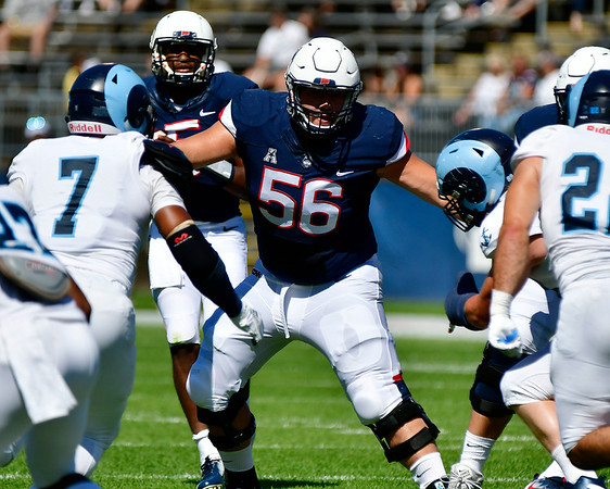 9/15/2018 Mike Orazzi   Staff UConn's Nino Leone (56) during Saturday's win over the University of Rhode Island in East Hartford.