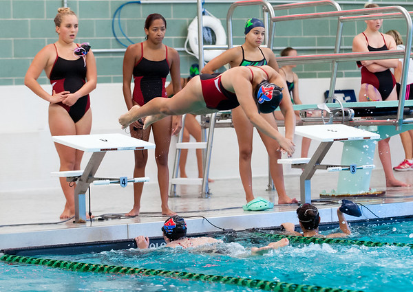 09/18/18 Wesley Bunnell | Staff Berlin girls swimming defeated Maloney High School 92-83 on Tuesday afternoon at Maloney High School. Gabriella Pattavina dives in for the for the anchor leg of the 400 freestyle relay.