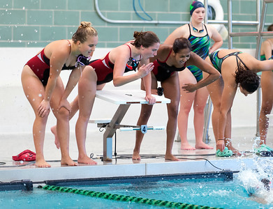 09/18/18  Wesley Bunnell | Staff  Berlin girls swimming defeated Maloney High School 92-83 on Tuesday afternoon at Maloney High School. Teammates Sadie Boyer, Madeline Palmese and Najey Ramos cheer on teammate Gabriella Pattavina who swam the anchor leg in the 400 free.  The group would finish in first place.