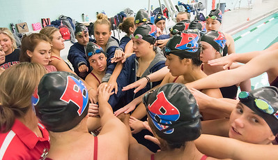 09/18/18  Wesley Bunnell | Staff  Berlin girls swimming defeated Maloney High School 92-83 on Tuesday afternoon at Maloney High School.  Coach Andrea Gallo addresses the team after the diving competition.