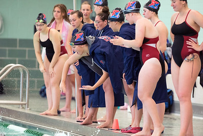 09/18/18  Wesley Bunnell | Staff  Berlin girls swimming defeated Maloney High School 92-83 on Tuesday afternoon at Maloney High School. Jillian Pampura leans in closer to the water as she cheers on a teammate.