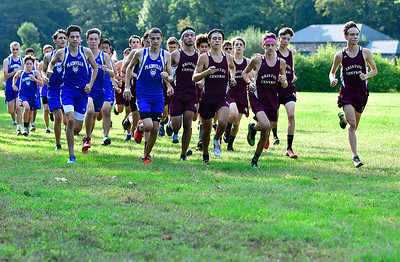 9/19/2018 Mike Orazzi | Staff The start of Wednesday's boys cross country meet between Bristol Central, Platt and Plainville at Rockwell Park in Bristol on Wednesday.