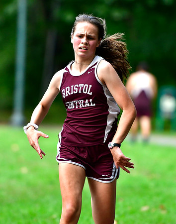9/19/2018 Mike Orazzi | Staff Central's Natalia Popielarz during Wednesday's girls cross country meet between Bristol Central, Platt and Plainville at Rockwell Park in Bristol on Wednesday.