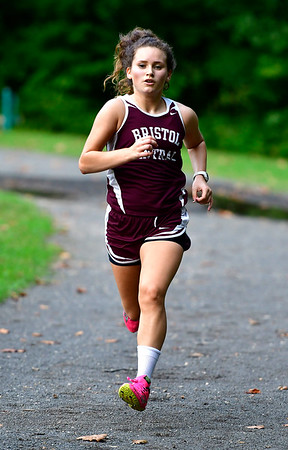 9/19/2018 Mike Orazzi | Staff Central's Alexandra Sirko during Wednesday's girls cross country meet between Bristol Central, Platt and Plainville at Rockwell Park in Bristol on Wednesday.