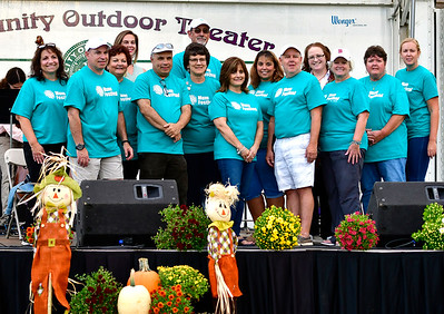 9/20/2018 Mike Orazzi | Staff Several members of the Mum Festival Committee during the opening ceremony on Memorial Blvd. Thursday evening.
