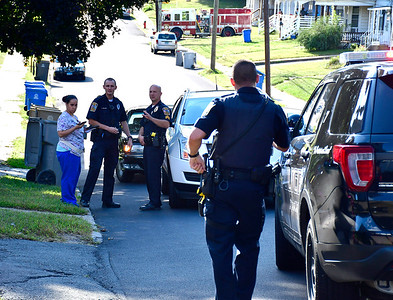 9/20/2018 Mike Orazzi | Staff Bristol police while on scene where a child was hit by a vehicle on Prospect Street near Queen Street Thursday afternoon.