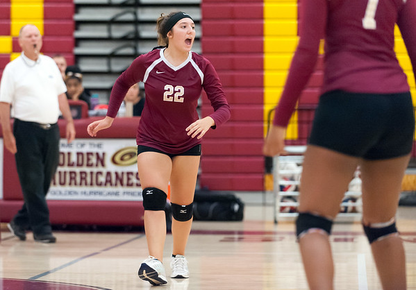 09/25/18 Wesley Bunnell | Staff New Britain girls volleyball was defeated by Simsbury on Tuesday night at New Britain High School. Audrey Beliveau (22).