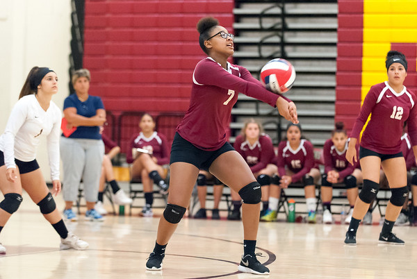 09/25/18 Wesley Bunnell | Staff New Britain girls volleyball was defeated by Simsbury on Tuesday night at New Britain High School. Anyerina Lugo (7).