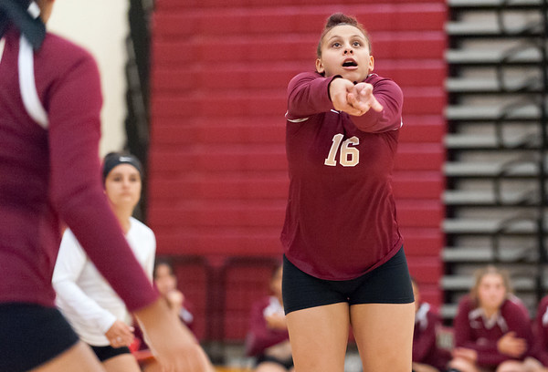 09/25/18 Wesley Bunnell | Staff New Britain girls volleyball was defeated by Simsbury on Tuesday night at New Britain High School. Nataly Hernandez (16).