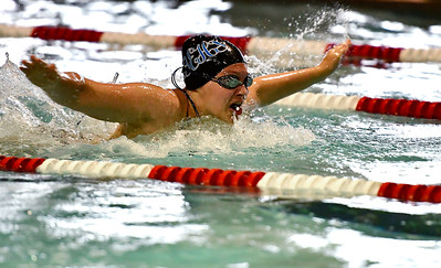 9/25/2018 Mike Orazzi | Staff Bristol Eastern's Julia Michaud during Tuesday's swim meet with Windsor in Bristol.