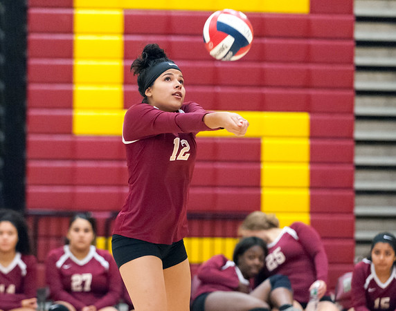 09/25/18 Wesley Bunnell | Staff New Britain girls volleyball was defeated by Simsbury on Tuesday night at New Britain High School. Paola Martinez (12).