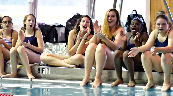 9/25/2018 Mike Orazzi | Staff Bristol Eastern swimmers during Tuesday's swim meet with Windsor in Bristol.