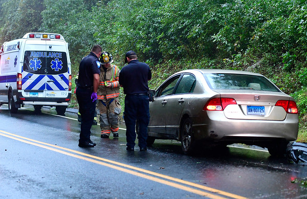 9/25/2018 Mike Orazzi | Staff The scene of a one car crash on Willis Street in Bristol Tuesday. One patient refused treatment.