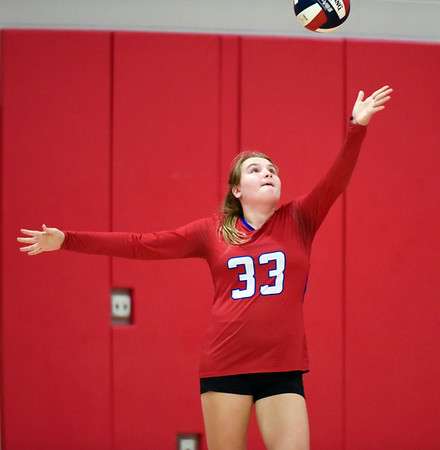 09/26/18 Wesley Bunnell | Staff Berlin volleyball defeated Plainville on Wednesday night at Berlin High School. Sydney Duke (33).