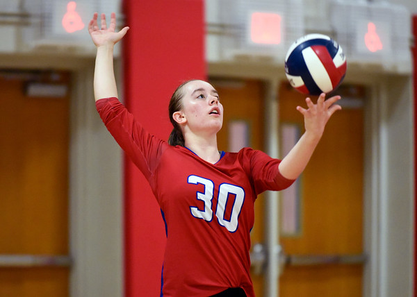 09/26/18 Wesley Bunnell | Staff Berlin volleyball defeated Plainville on Wednesday night at Berlin High School. Jordan Barber (30).