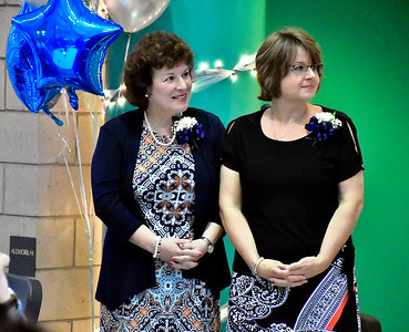 9/25/2018 Mike Orazzi | Staff Angela Lomaglio and Audra Larson during the 25th Anniversary Celebration at the Chippens Hill Middle School Tuesday evening.