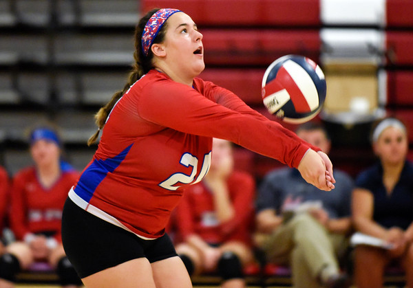 09/26/18 Wesley Bunnell | Staff Berlin volleyball defeated Plainville on Wednesday night at Berlin High School. Mackenzie Dimauro (24).